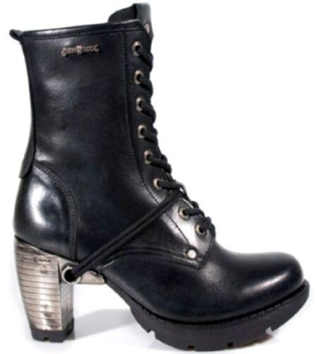 New Trail Lacets Bottes Cuir Punk Gothique Rock Dames Tr001 100 Noir s1 ggwIH