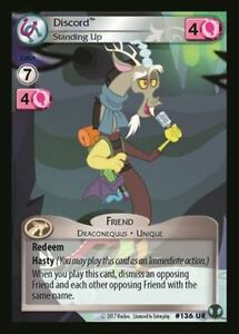 Details about 1x Discord Standing Up 136 UR - My Little Pony Defenders of  Equestria MLP CCG