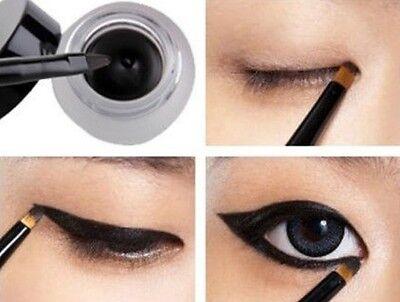 women Waterproof Eye Liner Eyeliner Gel Makeup Cosmetic + Brush Black 1 set hs88