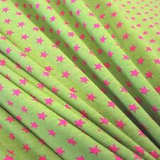 Stoff Meterware Baumwolle Jersey Sterne stars kiwi  pink Kleiderstoff Neu