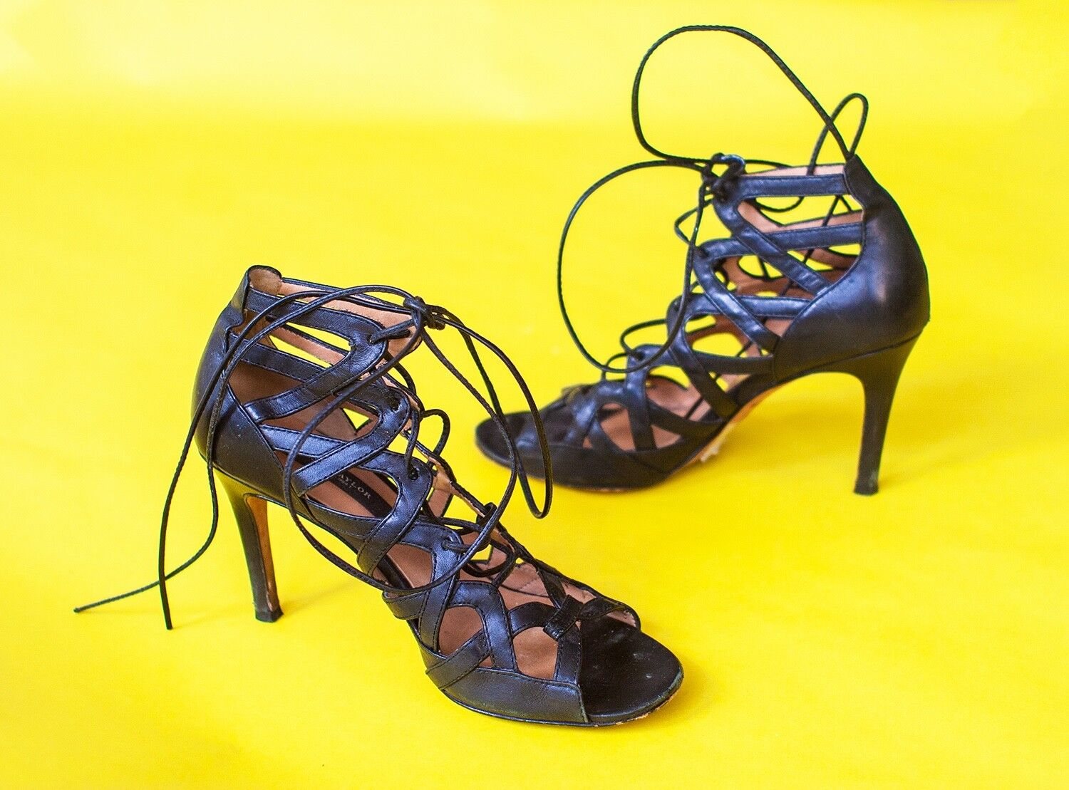 Ann Taylor Genuine Black Leather Sexy Strappy Lace Up Stiletto Heels Sandals 6.5