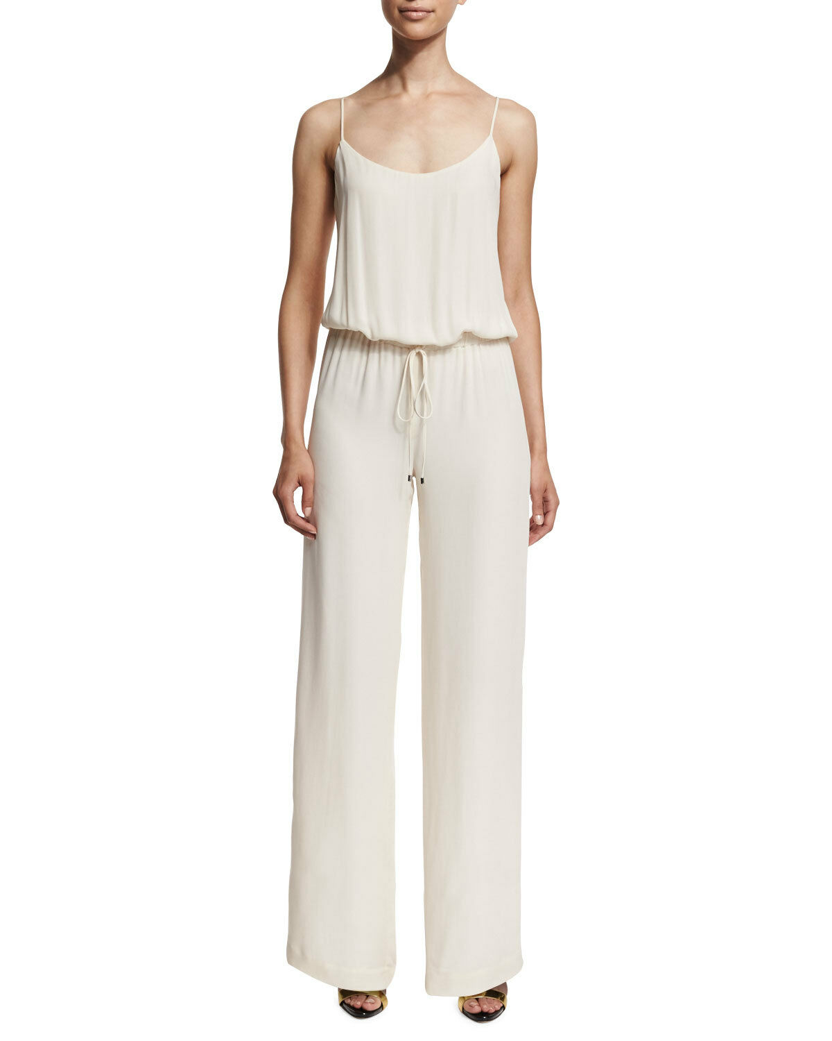 Haute Hippie Camisole Wide-Leg Jumpsuit, Antique Ivory   585.00 Size L