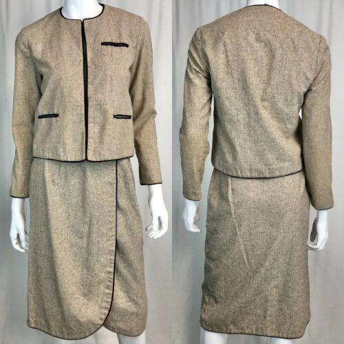 Vintage Womens High Waisted Midi Wrap Skirt Blazer