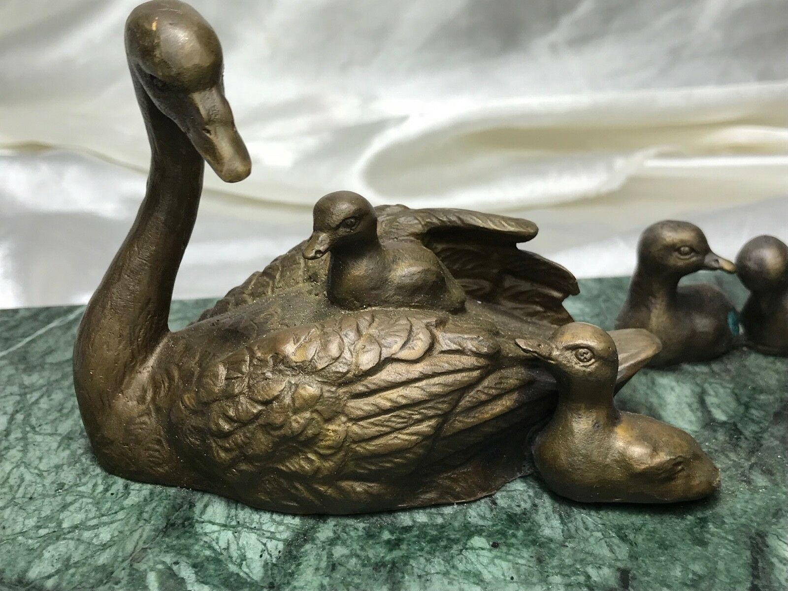 Beautiful Bronze Mother Swan Bird With Baby Cygnets Sculpture Signed Marble Base