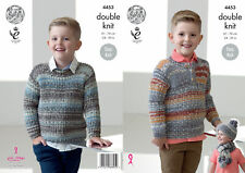 00bc5349e King Cole Double Knitting Pattern Boys Easy Knit Sweaters Hat Scarf DK 4453