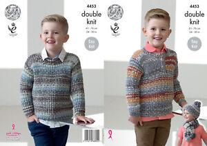 83feba3e7 Image is loading Boys-Sweater-Jumper-Hat-Scarf-Double-Knitting-Pattern-