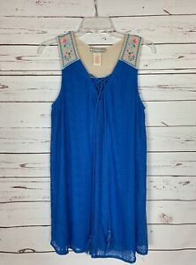 Flying-Tomato-Anthropologie-Women-039-s-S-Small-Blue-Lace-Boho-Sleeveless-Tunic-Top