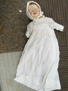 Antique-18-inch-Wooden-Composition-Doll-With-Cotton-Dress