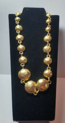 "Goldtone Graduated Hemispheres Necklace 17"""