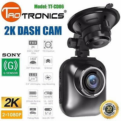 Dash Cam 2K Sony G-Sensor HDR TaoTronics DVR Car Camera Night Vision TT-CD06