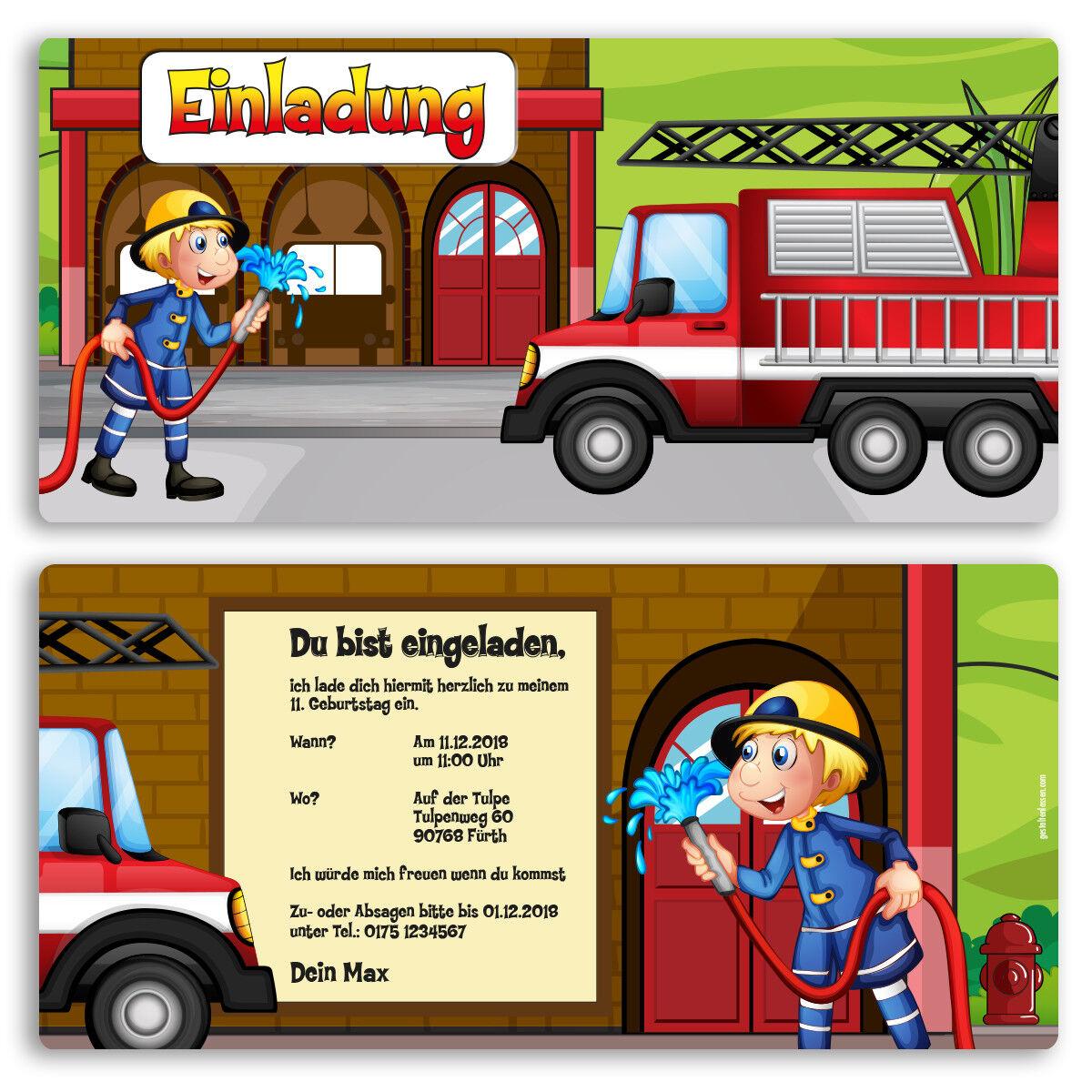 Einladung zum Geburtstag Feuerwehr Karte Einladungskarten Kindergeburtstag   | Exquisite (mittlere) Verarbeitung  | Produktqualität