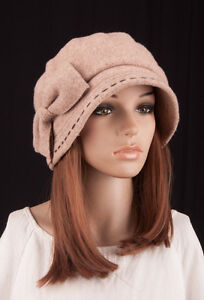 Details about M367 Beige Women s Wool Cashmere Cute Bow Winter Hat Beanie  Brim Cap Cloche 6562ad10ea
