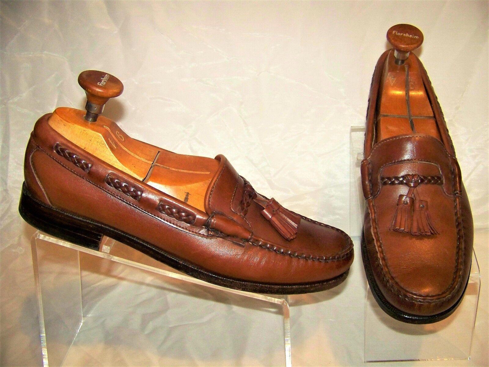 Allen Edmonds Carthage 42426 Brown Leather Moc Toe Tassels Men's Loafers US 11D