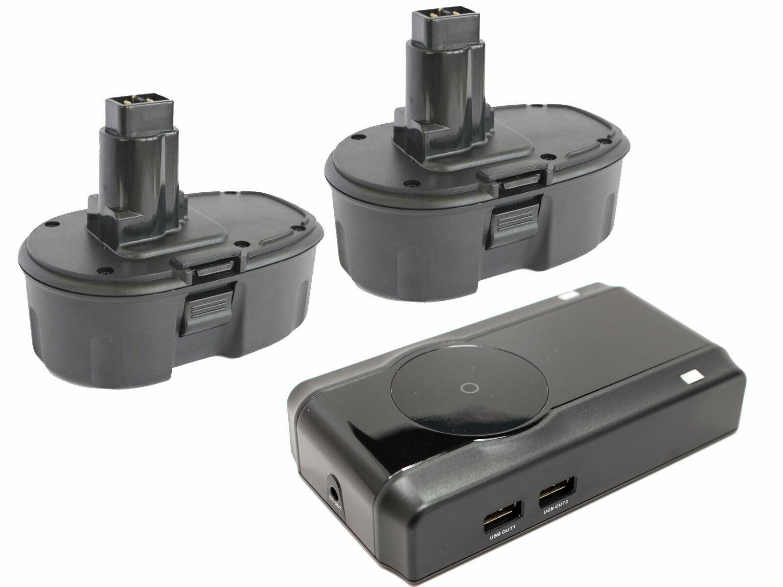 2x Battery +Charger for DeWalt DC390, DCD950KX, DC925, DW936, DC410 18V 1.3Ah