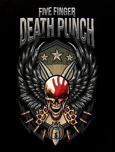 FIVE-FINGER-DEATH-PUNCH-cd-lgo-SKULL-WING-SHIELD-Official-SHIRT-New-L-XL