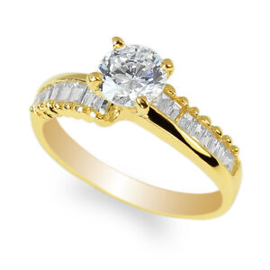 JamesJenny  Ladies Duo Set 10K,14K  Yellow Gold  Simple Stylish Solitaire Ring Size 4-10