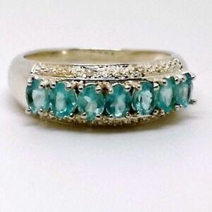 Genuine-diamante-BLU-TOPAZIO-eleganti-Sterling-Silver-Ring-Taglia-P-Acquamarina