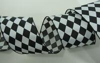 "30 Feet Black White Harlequin Argyle 3"" Wire Edge Ribbon Wedding Bows Wreath"