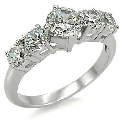 Five Stone Anniversary Ring Stainless Steel Engagement Ring CZ