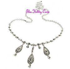 Vintage Chic Bridal Wedding Silver Teardrop Choker Necklace w/ Swarovski Crystal