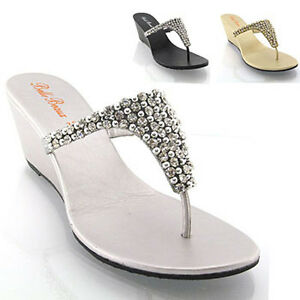 230aa26c74 Image is loading New-Womens-Wedge-Diamante-Toe-Post-Ladies-Sparkly-