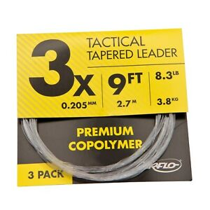 FLY FISHING LEADERS PACKAGE OF Fluorocarbon mails FAST from USA 3 sizes 3