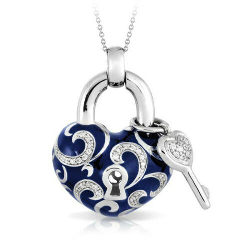 Belle Etoile Key To My Heart Blue Pendant NWT