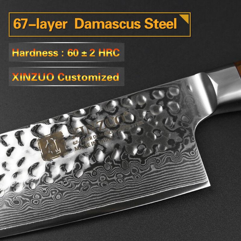 2Pcs Kitchen Kitchen Kitchen Knife Set 67 Layers Damascus Steel Chef Cleaver Utility Santoku Cut 7f224e
