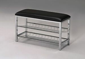 Legacy Decor Metal Two Tier Shoe Rack Bench