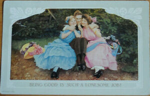 PRETTY CARD ' BEING GOOD IS SUCH A LONESOME JOB! POSTED 1910