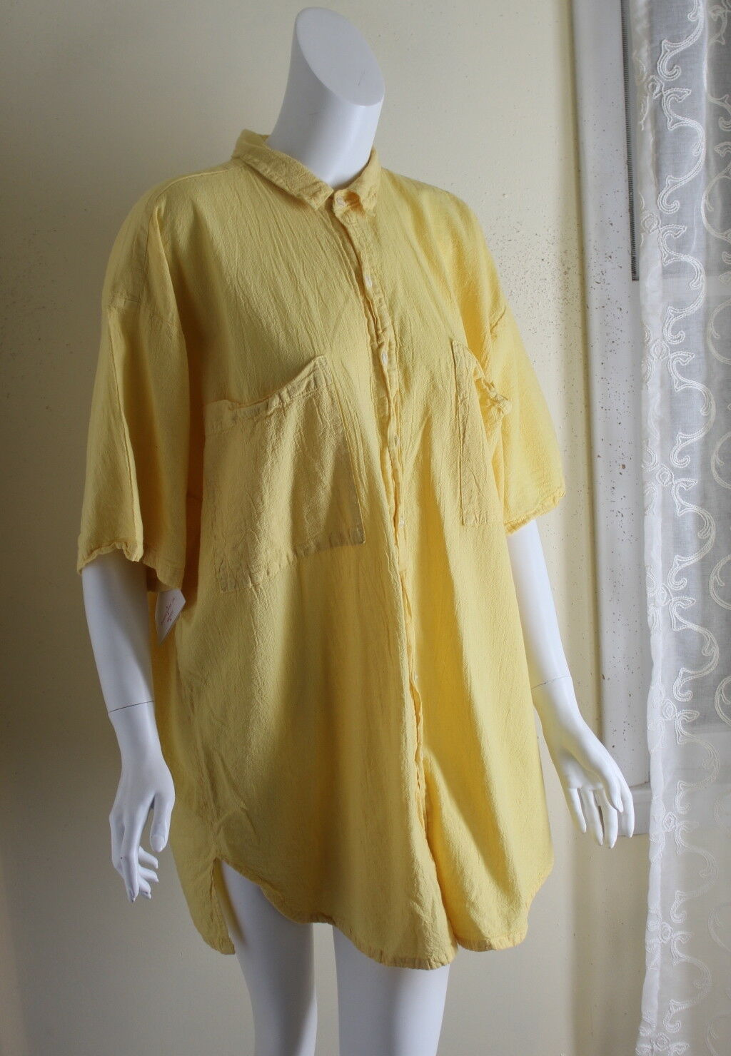NWT Maria de Guadalajara 1X 2X FUN Lagenlook Cotton Gauze Yellow Tunic Shirt Top