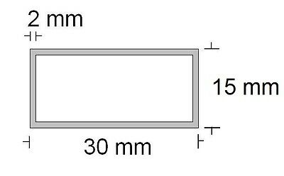 Alu Rechteckrohr 30 x 15 x 2 mm, 3,85€//m