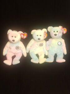 "TY Beanie Babie 1999 ""B. B. Bear"" Set Of 3"