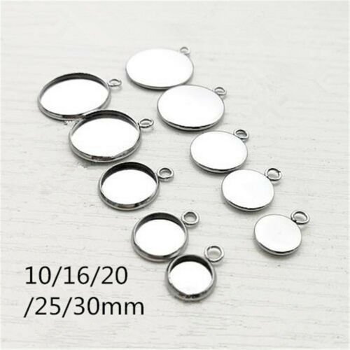 10pcs Silver Round Cabochon Blank Bezel Base Tray Stainless Steel Pendants HOT