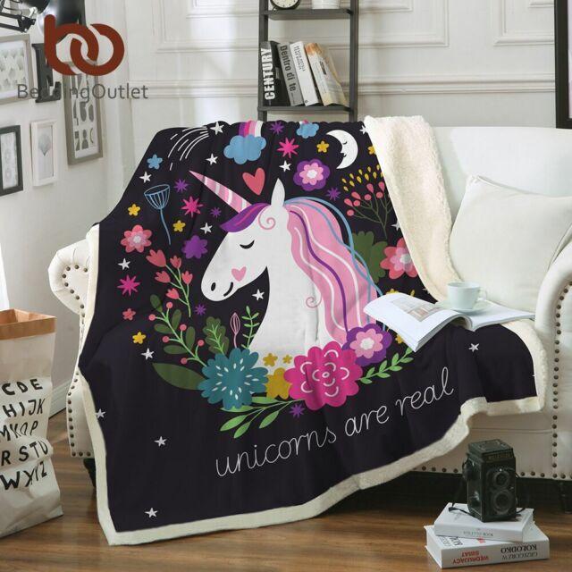 Unicorn Velvet Plush Throw Blanket Floral Printed For Kids Girls Sherpa Blankets