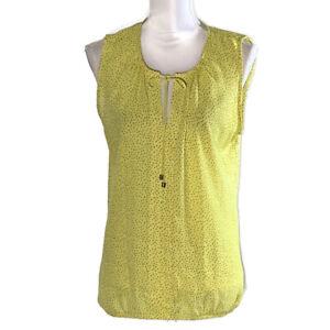 Ann Taylor Loft Womens Top Scoop Neck Sleeveless Yellow Work Ladies Size Large