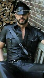 MENS-REAL-LEATHER-Black-Police-Military-Style-Shirt-BLUF-ALL-SIZE-Shirt