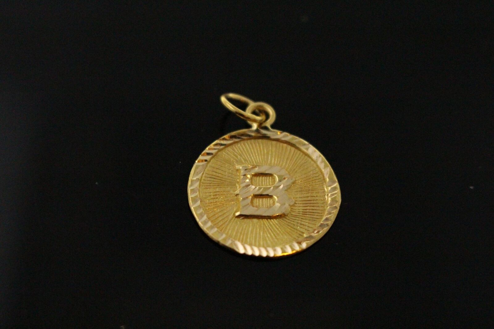 22k 22ct Solid gold Charm Letter B Pendant Round Design p1076 ns