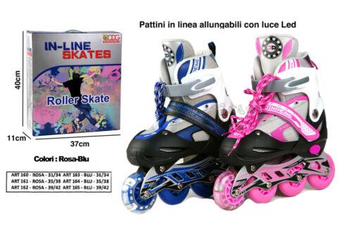 PATTINI IN LINEA ALLUNGABILI ROSA o BLU taglia 31//34 con casco e protezioni