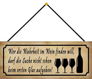 Wahrheit IN Wine Tin Sign Shield with Cord Metal 10 X 27 CM K0130-K