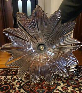 Vintage antique Art deco Starburst Plafonnier Lampe Luminaire Abat-jour en verre