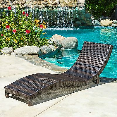 Outdoor Patio Furniture Brown Wicker Chaise Lounge Chair