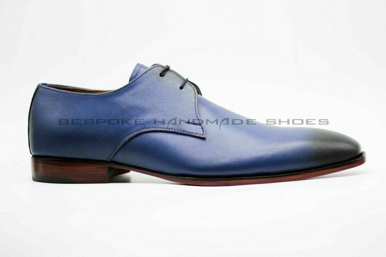 Hecho a mano para hombres Cuero Genuino Azul y Negro punta del ala acordonados formal Zapatos