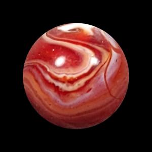"Vintage Slag Shooter Marble Akro Agate 13/16"" Sweet Cherry Red White Swirl .82"""