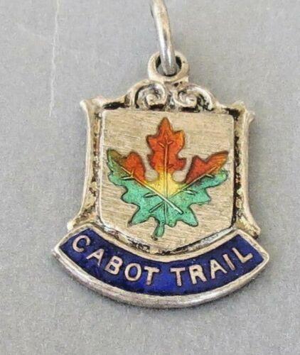 Enameled Peggy/'s Cove Nova Scotia Canada Travel Shield Sterling Silver Charm of Pendant.
