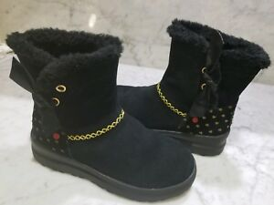 Ugg-Boots-youth-Size-4-I-love-Uggs-Black-Hearts-Mini-run-small-like