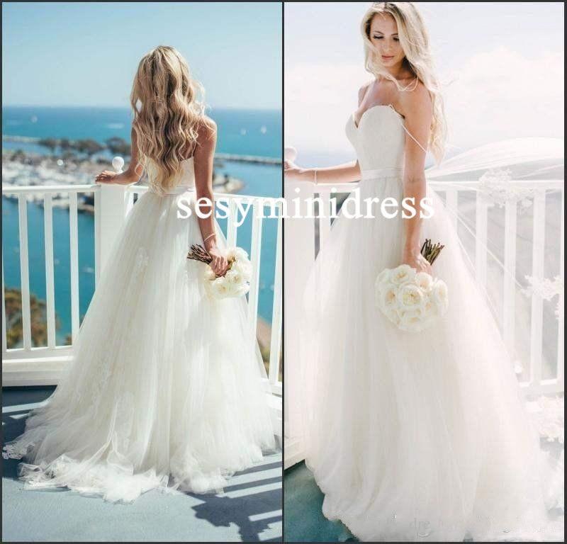 2019 Spaghetti Strap Tulle Wedding Dress Bridal Gown Custom Size 4 6 8 10 12 14+