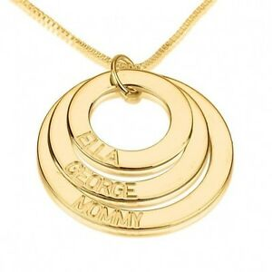 oNecklace ® Three Tone Mother Necklace 3 Disc Engraved Mom Family Pendant