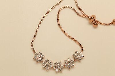 18K Yellow Gold Finish  1.75 CT Round Diamond Flower 7.25 Inch Tennis Bracelet