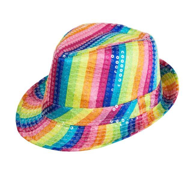 5683ea21f6fd1e Rainbow Fedora Hat Multi Colour Sequin Fun Party Fancy Dress Accessory  Adults